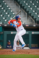 "Buffalo Bisons Andy Burns (9) at bat during an International League game against the Scranton/Wilkes-Barre RailRiders on June 5, 2019 at Sahlen Field in Buffalo, New York.  The Bisons wore special uniforms as they played under the name the ""Buffalo Wings"". Scranton defeated Buffalo 3-0, the first game of a doubleheader. (Mike Janes/Four Seam Images)"