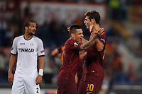Calcio, Europa League: Roma vs Astra Giurgiu. Roma, stadio Olimpico, 29 settembre 2016.<br /> Roma's Federico Fazio, right, celebrates with his teammate Juan Iturbe after scoring during the Europa League Group E soccer match between Roma and Astra Giurgiu at Rome's Olympic stadium, 29 September 2016. Roma won 4-0.<br /> UPDATE IMAGES PRESS/Isabella Bonotto