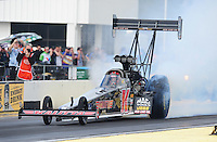 Mar. 12, 2012; Gainesville, FL, USA; NHRA top fuel dragster driver Doug Kalitta during the Gatornationals at Auto Plus Raceway at Gainesville. The race is being completed on Monday after rain on Sunday. Mandatory Credit: Mark J. Rebilas-