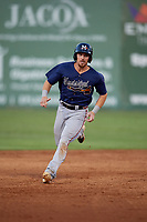 Mississippi Braves Ryan Casteel (26) running the bases during a Southern League game against the Jackson Generals on July 23, 2019 at The Ballpark at Jackson in Jackson, Tennessee.  Mississippi defeated Jackson 1-0 in the second game of a doubleheader.  (Mike Janes/Four Seam Images)