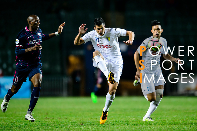 FC Kitchee Forward Alessandro Ferreira (l) observes FC Hanoi Defender Alvaro Silva (r) looks to bring the ball down during the AFC Champions League 2017 Preliminary Stage match between  Kitchee SC (HKG) vs Hanoi FC (VIE) at the Hong Kong Stadium on 25 January 2017 in Hong Kong, China. Photo by Marcio Rodrigo Machado / Power Sport Images