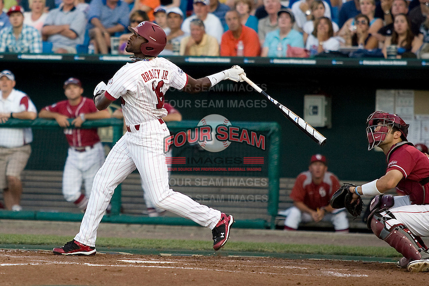 South Carolina's Jackie Bradley Jr. in Game 10 of the NCAA Division One Men's College World Series on June 24th, 2010 at Johnny Rosenblatt Stadium in Omaha, Nebraska.  (Photo by Andrew Woolley / Four Seam Images)