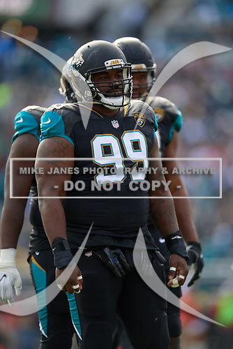Jacksonville Jaguars Eli Ankou (99) during an NFL Wild-Card football game against the Buffalo Bills, Sunday, January 7, 2018, in Jacksonville, Fla.  (Mike Janes Photography)