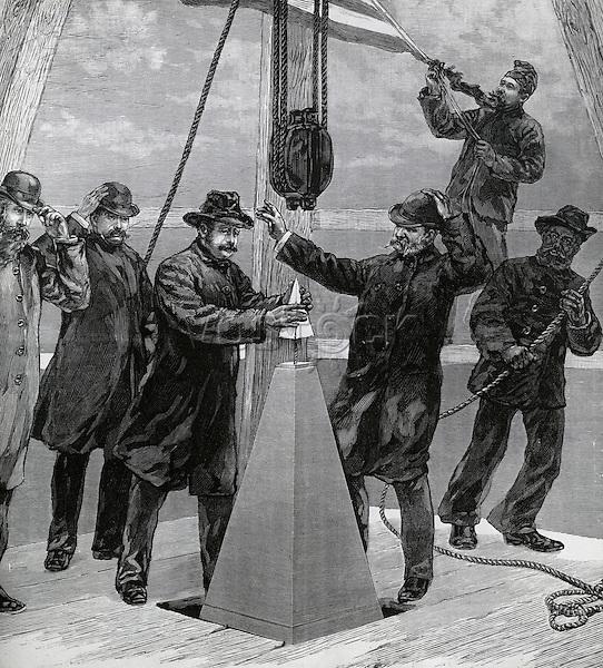 Setting aluminum capstone on the Washington Monument,, December 6, 1884, Artist Unknown