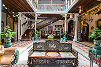 Peranakan Mansion, Inner Courtyard, Stairs to Second Floor, George Town, Penang, Malaysia.