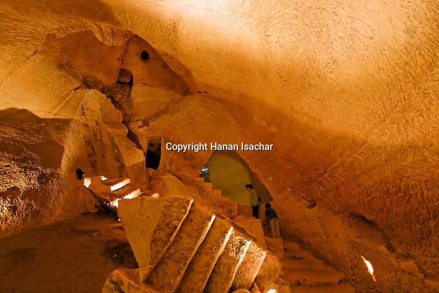 Israel, Shephelah region. Caves in Tel Maresha
