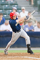 Pinch-hitter Sean Nicol #35 of the Harrisburg Senators follows through on his swing against the Richmond Flying Squirrels in game one of a double-header at The Diamond on July 22, 2011 in Richmond, Virginia.  The Squirrels defeated the Senators 3-1.   (Brian Westerholt / Four Seam Images)