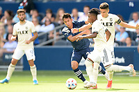 KANSAS CITY, KS - JUNE 26: Latif Blessing #7 Los Angeles FC with the ball during a game between Los Angeles FC and Sporting Kansas City at Children's Mercy Park on June 26, 2021 in Kansas City, Kansas.