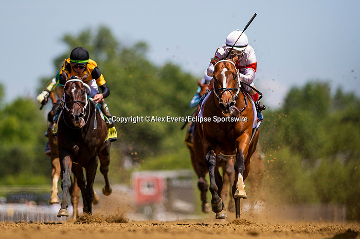 May 15, 2021 : Mighty Mischief, #2, ridden by Ricardo Santana Jr. wins the Chick Lang Stakes on Preakness Stakes Day at Pimlico Race Track in Baltimore, Maryland on May 15, 2021. Alex Evers/Eclipse Sportswire/CSM