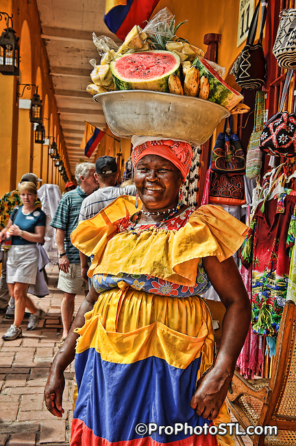 Fruit seller in the street of Cartagena, Colombia.