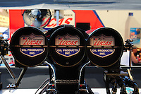 Sept. 30, 2011; Mohnton, PA, USA: Detailed view of the injector scoop for the car of NHRA top fuel dragster driver Shawn Langdon during qualifying for the Auto Plus Nationals at Maple Grove Raceway. Mandatory Credit: Mark J. Rebilas-