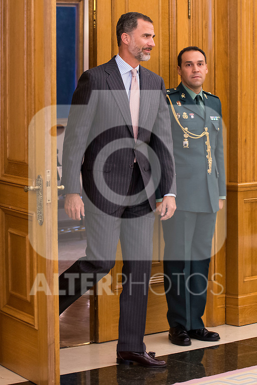 King Felipe VI of Spain and the President of the Government of Extremadura Guillermo Fernández Vara during Royal Audience at Zarzuela Palace in Madrid, Spain. July 16, 2015.<br />  (ALTERPHOTOS/BorjaB.Hojas)
