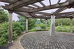 Oregon Gardens, Sensory Garden Plaza.  Oregon Gardens, Silverton, Oregon, USA, an 80 acre botanical garden in the Willamette Valley.