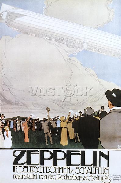 Zeppelin vintage airship poster, 1913 / «Цеппелин». Рекламный плакат, 1913, Генрих Хёних