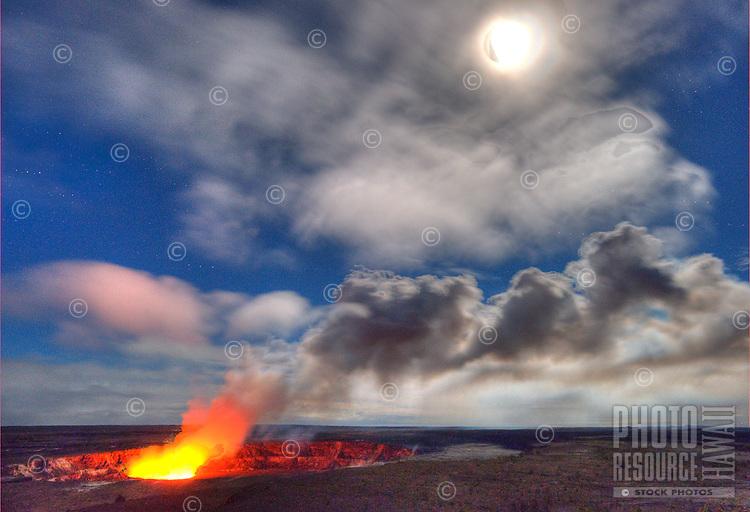 Steam and vapor billow from Halema'uma'u crater at Hawai'i Volcanoes National Park, Big Island.
