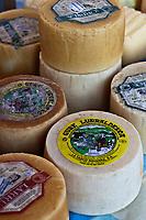 Europe/Espagne/Pays Basque/Guipuscoa/Goierri/Lazcau: Le marché - Détail fromages de brebis régionaux