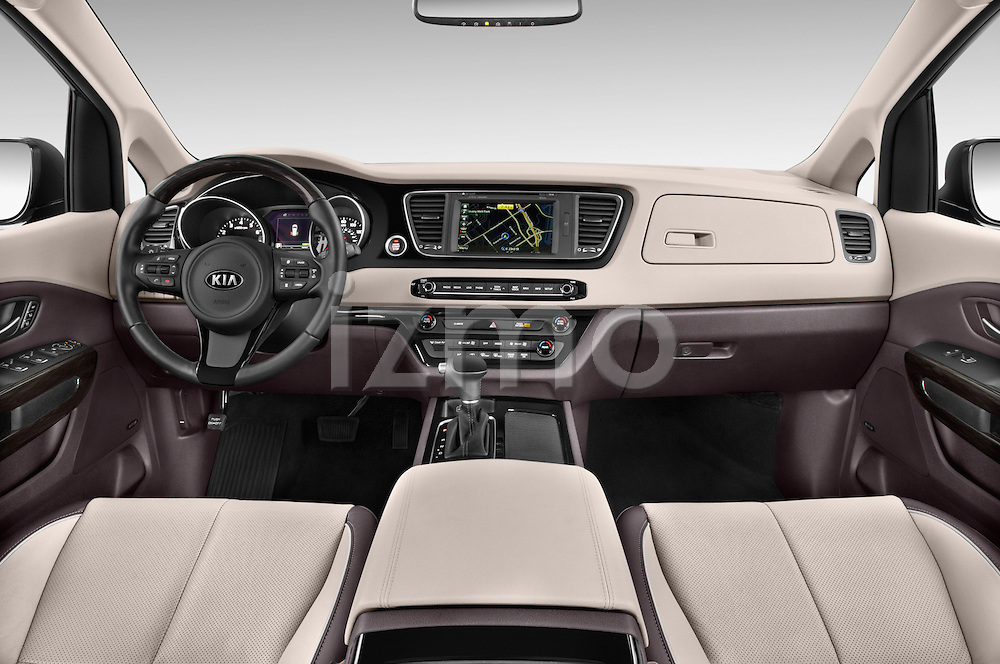 Stock photo of straight dashboard view of a 2015 KIA Sedona SX Limited 4 Door Minivan Dashboard