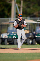 James Johnson during the WWBA World Championship at the Roger Dean Complex on October 19, 2018 in Jupiter, Florida.  James Johnson is a third baseman from Charlotte, North Carolina who attends South Mecklenburg High School and is committed to North Carolina at Pembroke.  (Mike Janes/Four Seam Images)