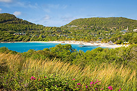 View of the jetty and church on Canouan Island, Grenadines, Caribbean