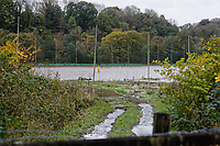 Pictured: A property has flooded off Dulais Fach Road (B4434) between the areas of Aberdulais and Tonna in Neath, south Wales, UK. Saturday 13 October 2018<br /> Re: Flooding caused by Storm Callum in the Neath area, south Wales, UK.
