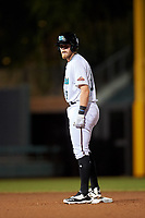 Salt River Rafters Seth Beer (8), of the Arizona Diamondbacks organization, stands on second base after hitting a double during an Arizona Fall League game against the Mesa Solar Sox on September 27, 2019 at Salt River Fields at Talking Stick in Scottsdale, Arizona. Salt River defeated Mesa 6-1. (Zachary Lucy/Four Seam Images)