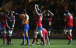 Barry O'Mahony celebrates Munsters victory over the Dragons at the final whistle.<br /> RaboDirect Pro12<br /> Newport Gwent Dragons v Munster<br /> Rodney Parade - Newport<br /> 29.11.13<br /> ©Steve Pope-SPORTINGWALES