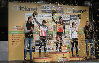 Elite Women's podium ceremony with  Katie Compton 2nd (USA/KFCracing), Sanne Cant 1st (BEL/Enertherm-Beobank) & Alice Maria Arzuffi 3rd (ITA)<br /> <br /> 2016 CX UCI World Cup Zeven (DEU)