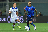 Amir Hadziahmetovic of Bosnia and Lorenzo Pellegrini of Italy during the Uefa Nation League Group Stage A1 football match between Italy and Bosnia at Artemio Franchi Stadium in Firenze (Italy), September, 4, 2020. Photo Massimo Insabato / Insidefoto