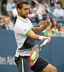 Marin Cilic (CRO) wins the men's final against Kei Nishikori 6-3, 6-3, 6-3 at the US Open being played at USTA Billie Jean King National Tennis Center in Flushing, NY on September 8, 2014