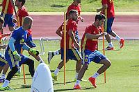 Spanish Alvaro Morata and Jordi Alba  during the second training of the concentration of Spanish football team at Ciudad del Futbol de Las Rozas before the qualifying for the Russia world cup in 2017 August 30, 2016. (ALTERPHOTOS/Rodrigo Jimenez) /NORTEPHOTO