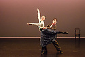 """London, UK. 14.02.2019. Elmhurst Ballet Company present their inaugural performance, """"Origins"""", in the Lilian Baylis Studio at Sadler's Wells Theatre. The piece shown is: Clog Dance and Lily of Laguna Pas de Deux from Hobson's Choice, choreographed by David Bintley CBE.  The dancers are: Theresa Tan (Maggie), Andrea Canalicchio (Willie Mossop). Photograph © Jane Hobson."""