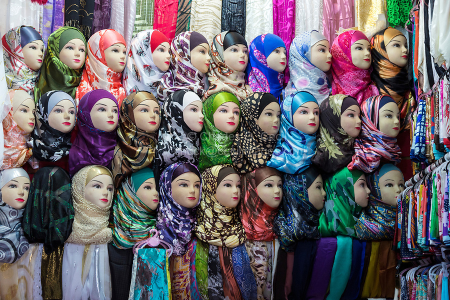Fes, Morocco.  Mannequins Displaying Scarfs in a Medina Shop.