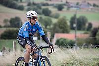 Sean De Bie (BEL/Veranda's Willems Crelan) trying to make the connection with the peloton after it was cut to pieces after a crash. <br /> <br /> 78th Euro Metropole Tour 2018<br /> La Louvière – Tournai (BEL): 206km