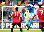 St Johnstone v Sunderland…15.07.17… McDiarmid Park… Pre-Season Friendly<br />Ally Gilchrist heads clear<br />Picture by Graeme Hart.<br />Copyright Perthshire Picture Agency<br />Tel: 01738 623350  Mobile: 07990 594431
