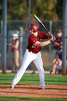 Boston College Eagles pinch hitter Connor Bacon (23) at bat during a game against the Minnesota Golden Gophers on February 23, 2018 at North Charlotte Regional Park in Port Charlotte, Florida.  Minnesota defeated Boston College 14-1.  (Mike Janes/Four Seam Images)