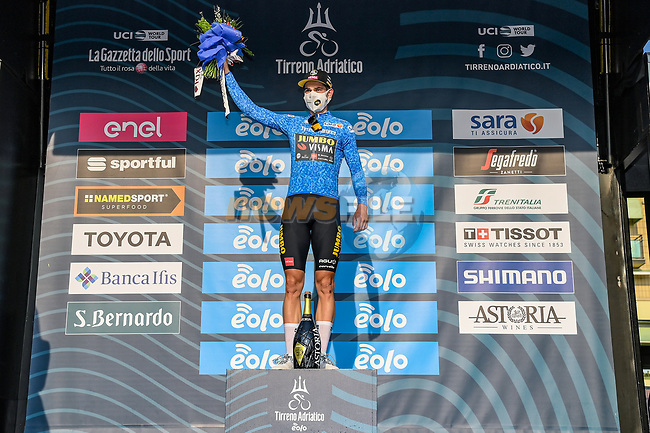 Wout Van Aert (BEL) Team Jumbo-Visma Stage 1 and wears the first leaders Maglia Azzurra of Tirreno-Adriatico Eolo 2021, running 156km from Lido di Camaiore to Lido di Camaiore, Italy. 10th March 2021. <br /> Photo: LaPresse/Gian Mattia D'Alberto | Cyclefile<br /> <br /> All photos usage must carry mandatory copyright credit (© Cyclefile | LaPresse/Gian Mattia D'Alberto)
