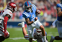Ole Miss quarterback Matt Corral (2) carries the ball, Saturday, October 9, 2021 during the second quarter of a football game at Vaught Hemingway Stadium in Oxford, Miss. Check out nwaonline.com/211010Daily/ for today's photo gallery. <br /> (NWA Democrat-Gazette/Charlie Kaijo)
