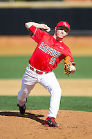 Radford Highlanders relief pitcher in action against the Missouri Tigers at Wake Forest Baseball Park on February 21, 2014 in Winston-Salem, North Carolina.  The Tigers defeated the Highlanders 15-3.  (Brian Westerholt/Four Seam Images)