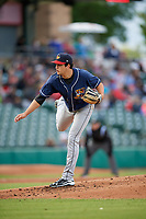 Toledo Mud Hens starting pitcher A.J. Ladwig during a game against the Indianapolis Indians on May 2, 2017 at Victory Field in Indianapolis, Indiana.  Indianapolis defeated Toledo 9-2.  (Mike Janes/Four Seam Images)