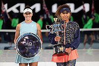 February 20, 2021: 3rd seed Naomi OSAKA of Japan and 22nd seed Jennifer BRADY of the USA  pose for photographs after Osaka beat Brady in the Women's Singles Final match on day 13 of the 2021 Australian Open on Rod Laver Arena, in Melbourne, Australia. Photo Sydney Low.