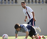 Clint Dempsey takes a shot on China's goalkeeper Chen Dong. The USA defeated China, 4-1, in an international friendly at Spartan Stadium, San Jose, CA on June 2, 2007.