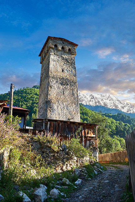 Stone medieval Svaneti tower houses of soli village, Upper Svaneti, Samegrelo-Zemo Svaneti, Mestia, Georgia.  A UNESCO World Heritage Site.