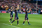 Atletico de Madrid's Saul Ñiguez, Gabi and Koke celebrating the victory during Champions League 2015/2016 Quarter-Finals 2nd leg match. April 13, 2016. (ALTERPHOTOS/BorjaB.Hojas)