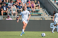 CARY, NC - SEPTEMBER 12: Lindsey Horan #10 of the Portland Thorns passes the ball during a game between Portland Thorns FC and North Carolina Courage at Sahlen's Stadium at WakeMed Soccer Park on September 12, 2021 in Cary, North Carolina.