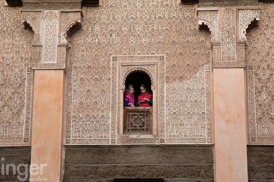 Looking through the window at Medersa Ben Youssef, Marrakech, Morocco