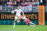 20120803 Copyright onEdition 2012©.Free for editorial use image, please credit: onEdition..Chris Wyles of Saracens is tackled by Henry Trinder of Gloucester Rugby at The Recreation Ground, Bath in the Final round of The J.P. Morgan Asset Management Premiership Rugby 7s Series...The J.P. Morgan Asset Management Premiership Rugby 7s Series kicked off again for the third season on Friday 13th July at The Stoop, Twickenham with Pool B being played at Edgeley Park, Stockport on Friday, 20th July, Pool C at Kingsholm Gloucester on Thursday, 26th July and the Final being played at The Recreation Ground, Bath on Friday 3rd August. The innovative tournament, which involves all 12 Premiership Rugby clubs, offers a fantastic platform for some of the country's finest young athletes to be exposed to the excitement, pressures and skills required to compete at an elite level...The 12 Premiership Rugby clubs are divided into three groups for the tournament, with the winner and runner up of each regional event going through to the Final. There are six games each evening, with each match consisting of two 7 minute halves with a 2 minute break at half time...For additional images please go to: http://www.w-w-i.com/jp_morgan_premiership_sevens/..For press contacts contact: Beth Begg at brandRapport on D: +44 (0)20 7932 5813 M: +44 (0)7900 88231 E: BBegg@brand-rapport.com..If you require a higher resolution image or you have any other onEdition photographic enquiries, please contact onEdition on 0845 900 2 900 or email info@onEdition.com.This image is copyright the onEdition 2012©..This image has been supplied by onEdition and must be credited onEdition. The author is asserting his full Moral rights in relation to the publication of this image. Rights for onward transmission of any image or file is not granted or implied. Changing or deleting Copyright information is illegal as specified in the Copyright, Design and Patents Act 1988. If you are in any way unsure of your right to publish