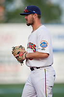 Brooklyn Cyclones first baseman Joe Genord (9) during a NY-Penn League game against the Tri-City ValleyCats on August 17, 2019 at MCU Park in Brooklyn, New York.  The game was postponed due to inclement weather, Brooklyn defeated Tri-City 2-1 in the continuation of the game on August 18th.  (Mike Janes/Four Seam Images)