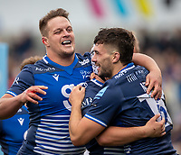 3rd October 2021; AJ Bell stadium, Eccles, Greater Manchester, England: Gallagher Premiership Rugby, Sale v Exeter ;  Cameron Neild of Sale Sharks celebrates but his try is disallowed by the TMO