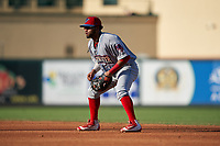 Clearwater Threshers second baseman Raul Rivas (65) during a Florida State League game against the Palm Beach Cardinals on August 10, 2019 at Roger Dean Chevrolet Stadium in Jupiter, Florida.  Clearwater defeated Palm Beach 11-4.  (Mike Janes/Four Seam Images)