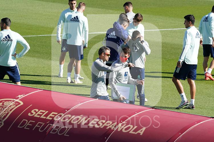Spain's coach Luis Enrique Martinez (l) with his second Jesus Casas during training session. October 6,2020.(ALTERPHOTOS/Acero)